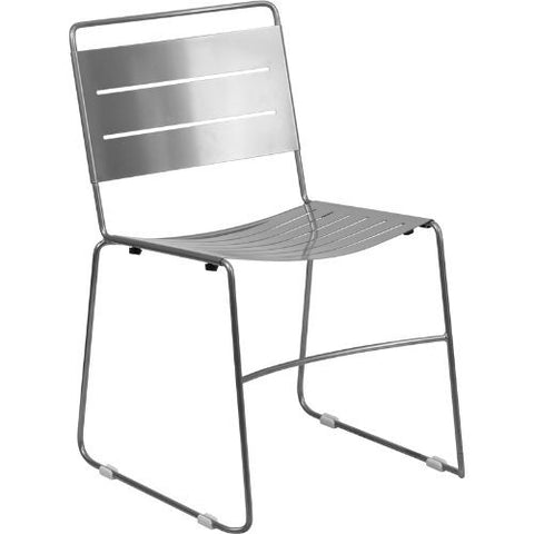 HERCULES Series Silver Indoor-Outdoor Metal Stack Chair; (UPC: 889142014492); Silver