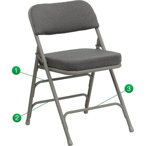 Flash Furniture HERCULES Series Premium Curved Triple Braced & Double Hinged Gray Fabric Metal Folding Chair HAMC320AFGRYGG ; Image 1 ; UPC 847254020527