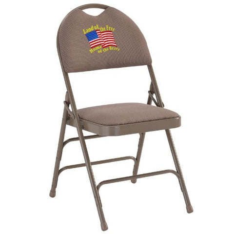 Embroidered HERCULES Series Extra Large Ultra-Premium Triple Braced Beige Fabric Metal Folding Chair with Easy-Carry Handle; (UPC: 847254017046); Beige