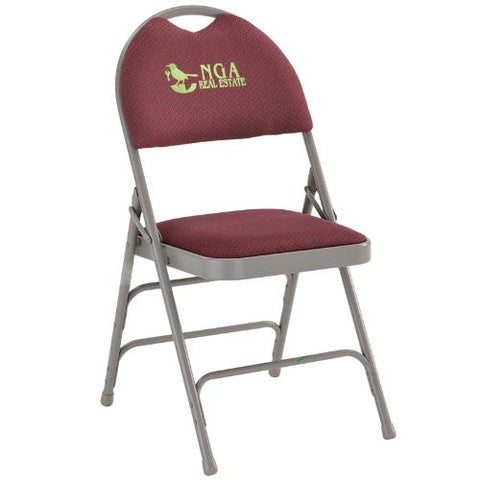 Embroidered HERCULES Series Extra Large Ultra-Premium Triple Braced Burgundy Fabric Metal Folding Chair with Easy-Carry Handle; (UPC: 847254017060); Burgundy, Gray
