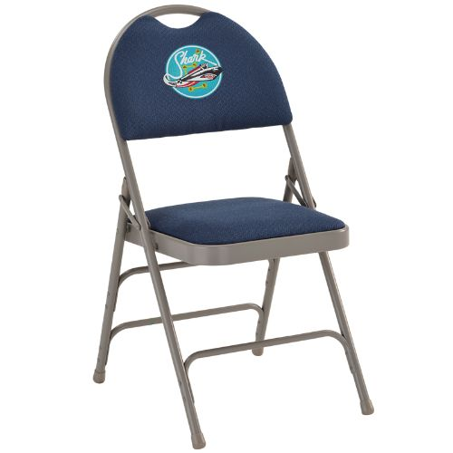 Embroidered HERCULES Series Extra Large Ultra-Premium Triple Braced Navy Fabric Metal Folding Chair with Easy-Carry Handle; (UPC: 847254017053); Gray, Navy