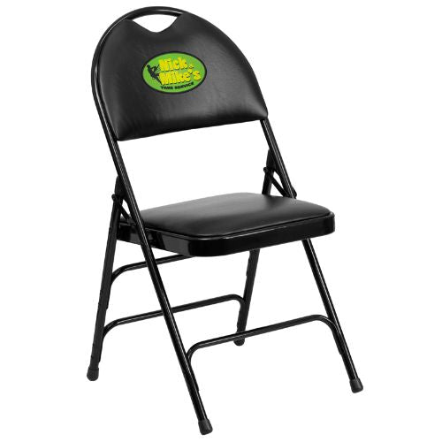 Embroidered HERCULES Series Extra Large Ultra-Premium Triple Braced Black Vinyl Metal Folding Chair with Easy-Carry Handle; (UPC: 847254017015); Black