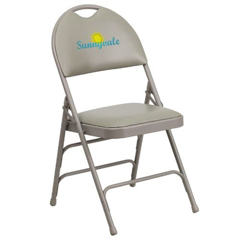Embroidered HERCULES Series Extra Large Ultra-Premium Triple Braced Gray Vinyl Metal Folding Chair with Easy-Carry Handle; (UPC: 847254017022); Gray