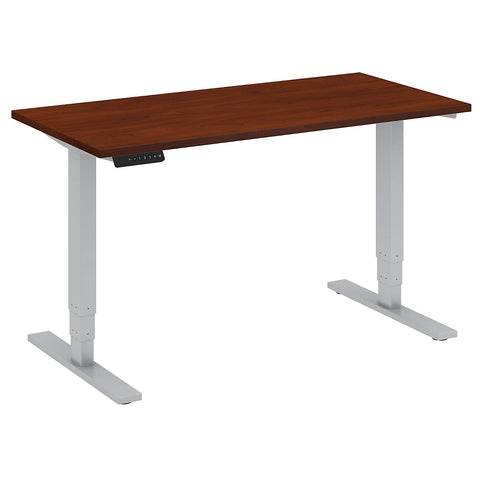 Bush Business Furniture 48W x 24D Height Adjustable Standing Desk in Hansen Cherry with Cool Gray Metallic Base ; UPC:042976013707 ; Image 1