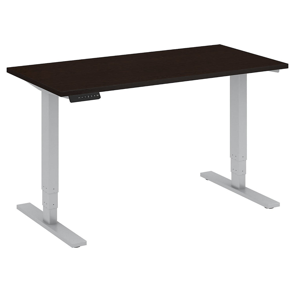 Bush Business Furniture 48W x 24D Height Adjustable Standing Desk in Mocha Cherry with Cool Gray Metallic Base ; UPC:042976013745 ; Image 1