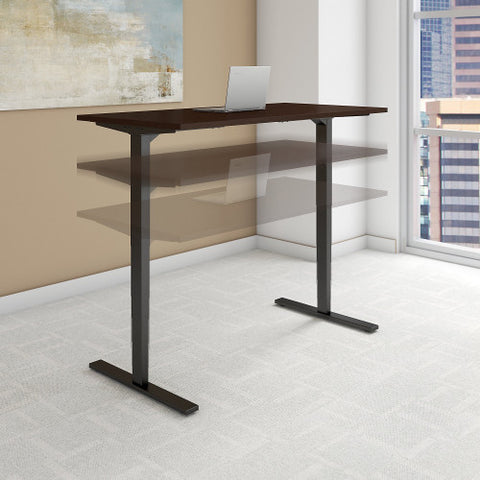 Bush Move 80 Series 48W x 24D Height Adjustable Standing Desk, Mocha Cherry Satin HAT4824MRSBK ; UPC: 042976017835 ; Image 2
