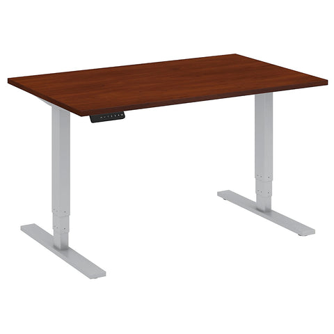 Bush Business Furniture 48W x 30D Height Adjustable Standing Desk in Hansen Cherry with Cool Gray Metallic Base ; UPC:042976013912 ; Image 1