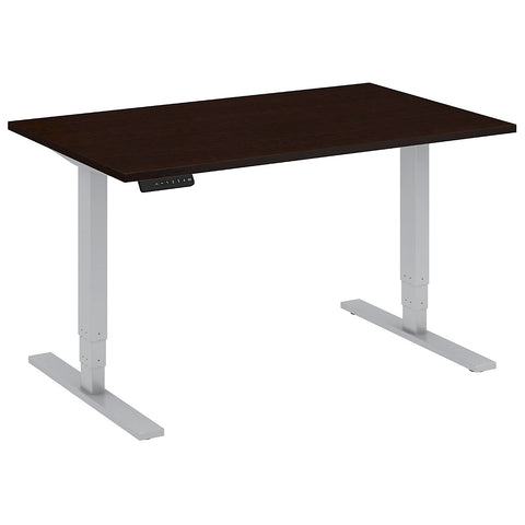 Bush Business Furniture 48W x 30D Height Adjustable Standing Desk in Mocha Cherry with Cool Gray Metallic Base ; UPC:042976014018 ; Image 1