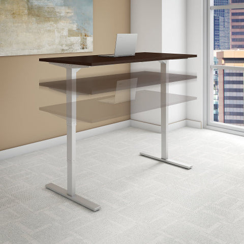 Bush Move 80 Series 60W x 24D Height Adjustable Standing Desk, Mocha Cherry Satin HAT6024MRSK ; UPC: 042976018382 ; Image 2