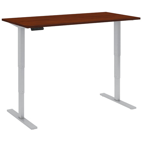 Bush Business Furniture 60W x 30D Height Adjustable Standing Desk in Hansen Cherry with Cool Gray Metallic Base ; UPC:042976014285 ; Image 2