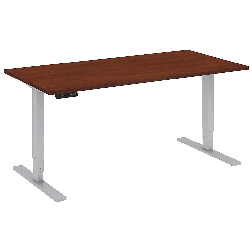 Bush Business Furniture 60W x 30D Height Adjustable Standing Desk in Hansen Cherry with Cool Gray Metallic Base ; UPC:042976014285 ; Image 1
