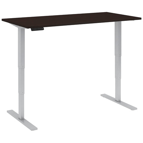 Bush Business Furniture 60W x 30D Height Adjustable Standing Desk in Mocha Cherry with Cool Gray Metallic Base ; UPC:042976014377 ; Image 2