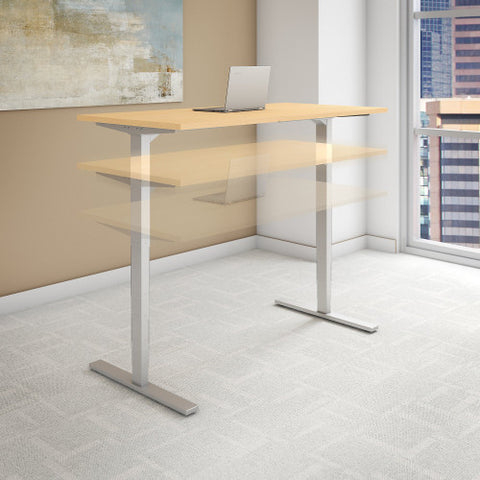 Bush Move 80 Series 72W x 30D Height Adjustable Standing Desk, Natural Maple HAT7230ACK ; UPC: 042976014636 ; Image 2