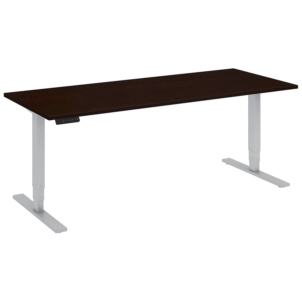 Bush Business Furniture 72W x 30D Height Adjustable Standing Desk in Mocha Cherry with Cool Gray Metallic Base ; UPC:042976014568 ; Image 1