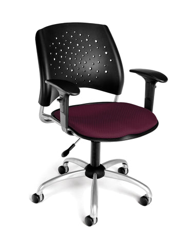 OFM Stars Swivel Chair with Arms, Burgundy ; UPC: 845123013151 ; Image 1