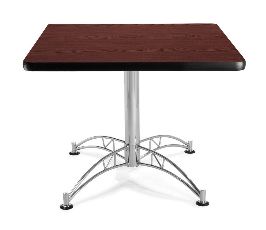 "OFM Model LT36SQ 36"" Multi-Purpose Square Table with Chrome-Plated Steel Base, Mahogany ; UPC: 811588017607 ; Image 1"
