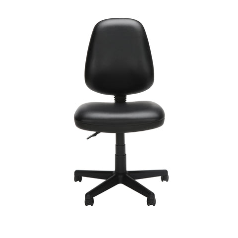 OFM Straton Series Armless Swivel Task Chair, Anti-Microbial/Anti-Bacterial Vinyl, Mid Back, in Black (119-VAM-606) ; UPC: 811588012664 ; Image 2