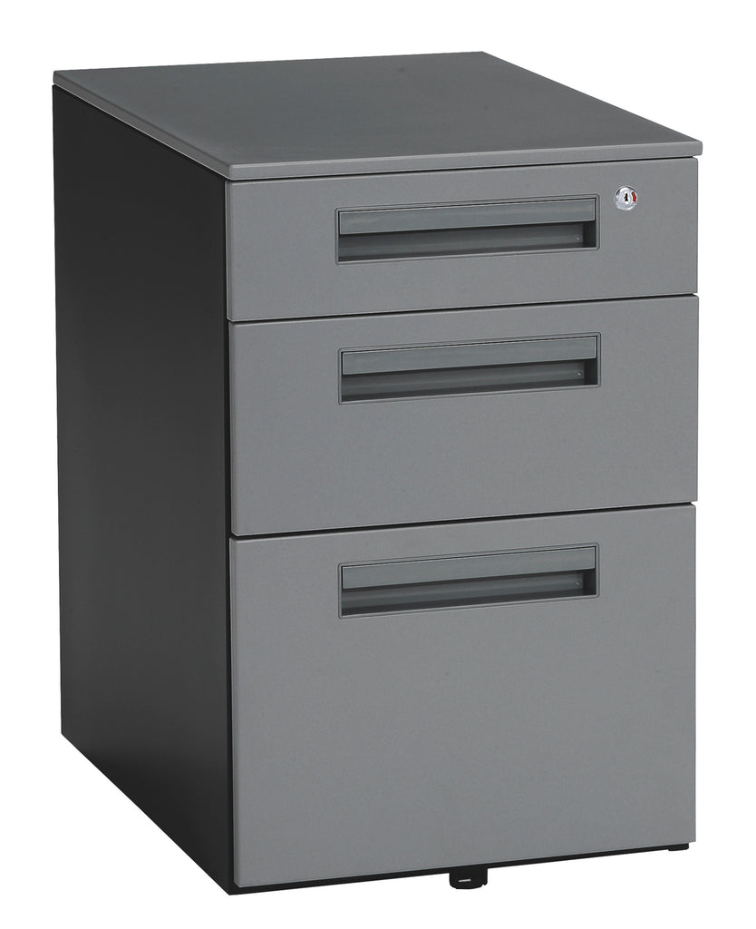 OFM Mesa Series Model 66300 Wheeled Mobile 3-Drawer Steel File Cabinet, Gray ; UPC: 811588011803 ; Image 1