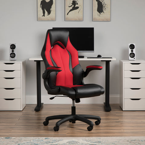 OFM Essentials Collection High-Back Racing Style Bonded Leather Gaming Chair, in Red (ESS-3086-RED) ; UPC: 845123090640 ; Image 12