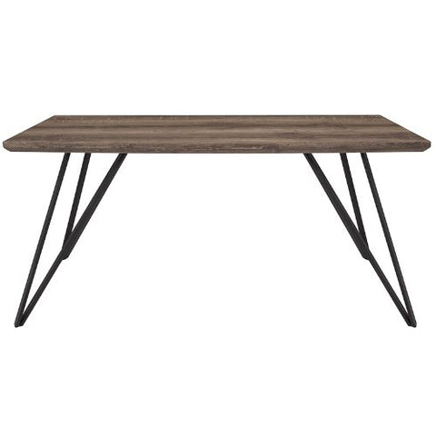 "Flash Furniture Corinth 31.5"" x 63"" Rectangular Dining Table in Distressed Light Brown Wood Finish HGDT01249034GG ; Image 2 ; UPC 889142337119"