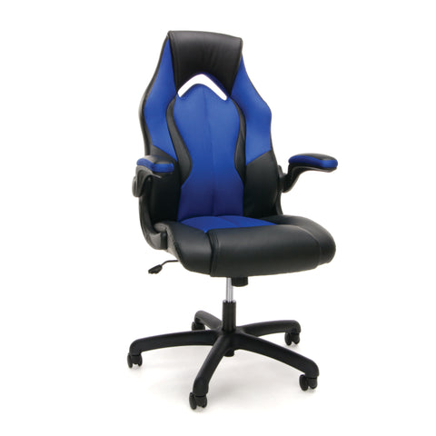 OFM Essentials Collection High-Back Racing Style Bonded Leather Gaming Chair, in Blue (ESS-3086-BLU) ; UPC: 845123090633 ; Image 1