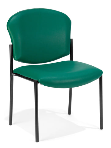 OFM 408-VAM-602 Armless Stack Vinyl Chair, Teal ; UPC: 811588010226 ; Image 1