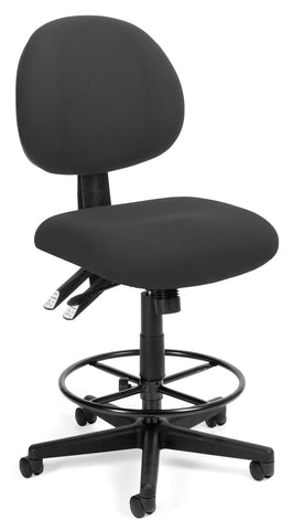 OFM 241-DK 24 Hour Ergonomic Upholstered Armless Task Chair with Drafting Kit, Charcoal ; UPC: 845123012536 ; Image 1