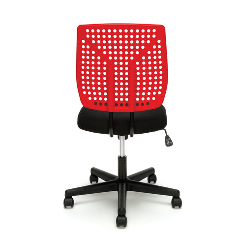 Essentials by OFM ESS-2050 Plastic Back Task Chair, Black with Red ; UPC: 845123092972 ; Image 3