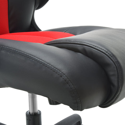 OFM Essentials Collection High-Back Racing Style Bonded Leather Gaming Chair, in Red (ESS-3086-RED) ; UPC: 845123090640 ; Image 10