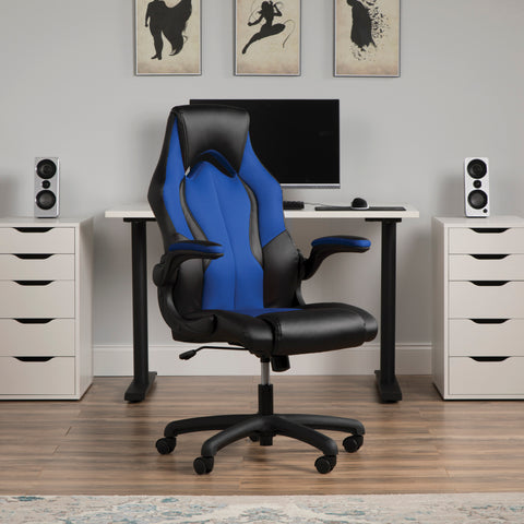 OFM Essentials Collection High-Back Racing Style Bonded Leather Gaming Chair, in Blue (ESS-3086-BLU) ; UPC: 845123090633 ; Image 13