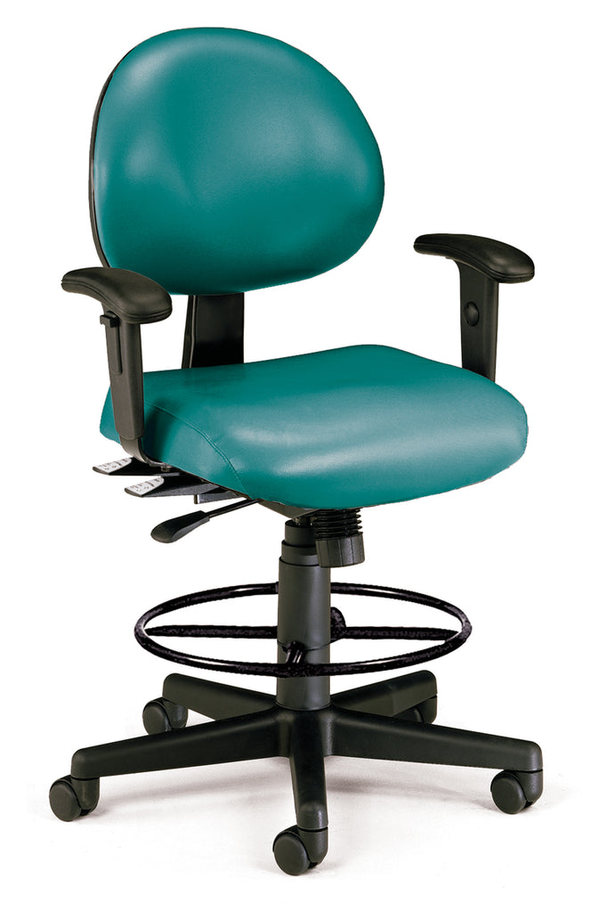 OFM 241-VAM-AADK 24 Hour Ergonomic Task Chair with Arms and Drafting Kit, Antimicrobial Vinyl, Mid Back, Teal ; UPC: 845123012451 ; Image 1