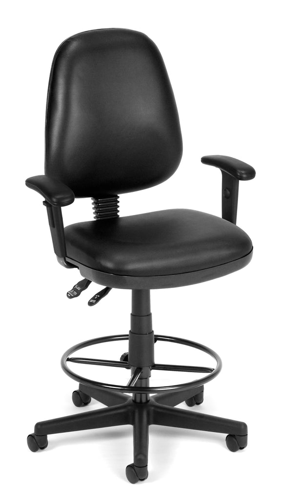 OFM Straton Series Model 119-VAM-AADK Swivel Task Chair with Arms and Drafting Kit, Anti-Microbial Vinyl, Black ; UPC: 845123011492 ; Image 1
