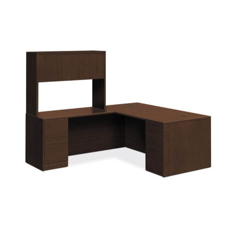 "HON 10500 Series Right L-Workstation | Stack-On Storage | Full Pedestals | 2 Box / 3 File Drawers | 72""W x 84""D 