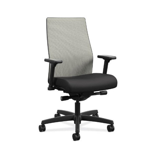 HON Ignition 2.0 Mid-Back Task Chair | Fog ilira-Stretch Mesh Back | Black Fabric ; UPC: 089192051267 ; Image 1