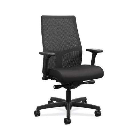 HON Ignition 2.0 Mid-Back Task Chair | Black ilira-Stretch Mesh Back | Black Fabric ; UPC: 888206730897 ; Image 1