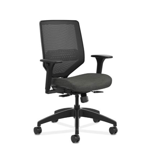 HON Solve Mid-Back Task Chair | Black ilira-Stretch Mesh Back | Adjustable Lumbar Support | Adjustable Arms | Easy Assembly | Black Frame | Ink Seat Fabric ; UPC: 888206238478 ; Image 1