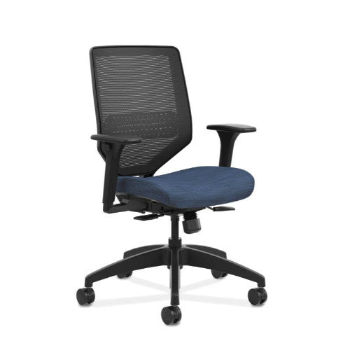 HON Solve Mid-Back Task Chair | Black ilira-Stretch Mesh Back | Adjustable Lumbar Support | Adjustable Arms | Easy Assembly | Black Frame | Midnight Seat Fabric ; UPC: 631530672445 ; Image 1