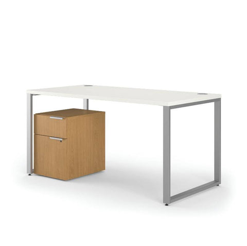 HON Voi Mixed Material Table Desk ; Color: Silver Mesh/Harvest; UPC: 0