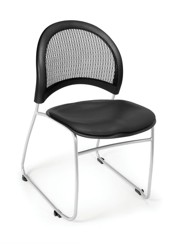 OFM Moon Series Model 335-VAM Anti-Microbial/Anti-Bacterial Vinyl Stack Chair, Black ; UPC: 845123014462 ; Image 1