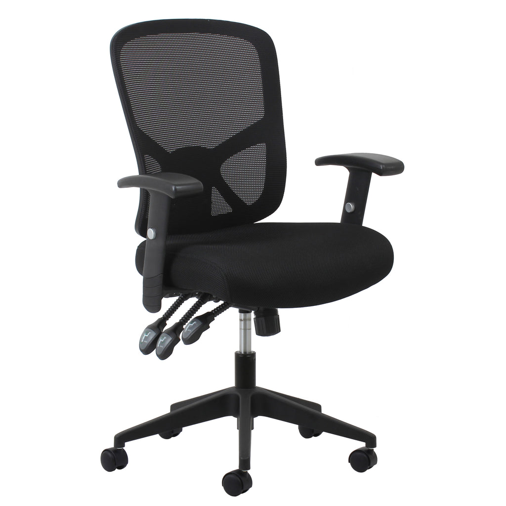 Essentials by OFM ESS-3050 3-Paddle Ergonomic Mesh High-Back Task Chair with Arms and Lumbar Support, Black ; UPC: 089191013815 ; Image 1