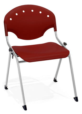 "OFM Rico Armless  Stacking Chair - Multipurpose 18"" Chair, Burgundy (305) Pack of 4 ; UPC: 811588013616 ; Image 1"