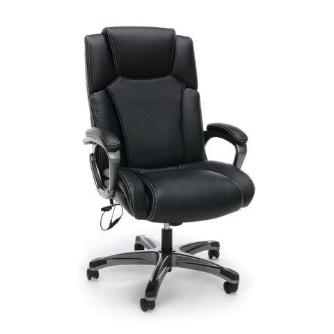 Essentials by OFM ESS-6035M Heated Shiatsu Massage Bonded Leather Executive Chair, Black ; UPC: 845123089330 ; Image 1