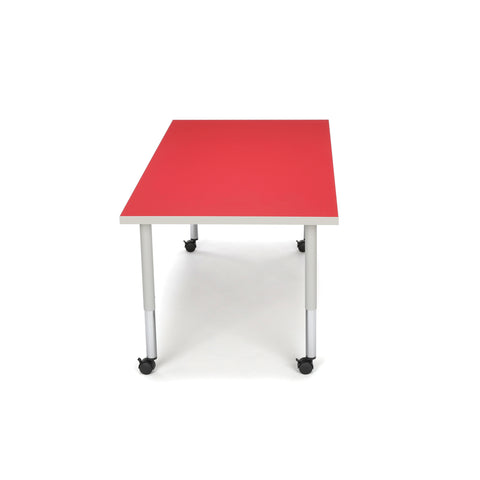 OFM Adapt Series Rectangle Student Table - 20-28? Height Adjustable Desk with Casters, Red (RECT-SLC) ; UPC: 845123096642 ; Image 5