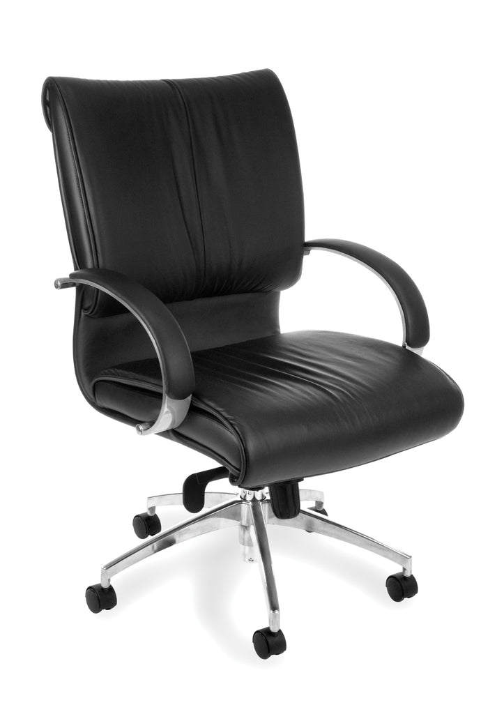 OFM Sharp Series Model 511-L Leather Mid-Back Executive Office Chair with Knee Tilt, Black ; UPC: 845123005705 ; Image 1