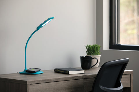 OFM ESS-9004-TEL Essentials LED Desk Lamp with Integrated Wireless Charging Station, Teal ; UPC: 192767000642 ; Image 12
