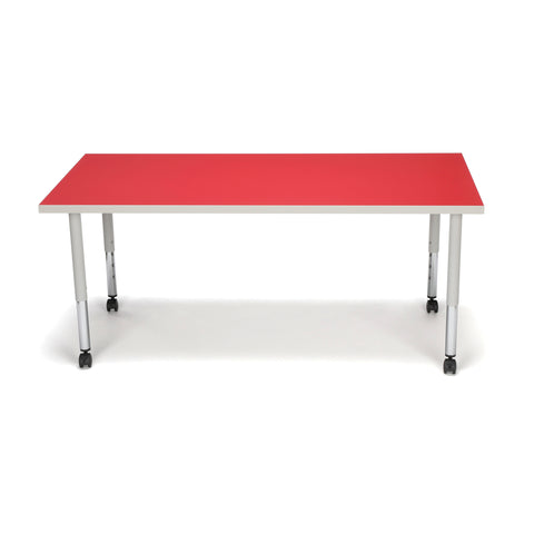 OFM Adapt Series Rectangle Student Table - 20-28? Height Adjustable Desk with Casters, Red (RECT-SLC) ; UPC: 845123096642 ; Image 3