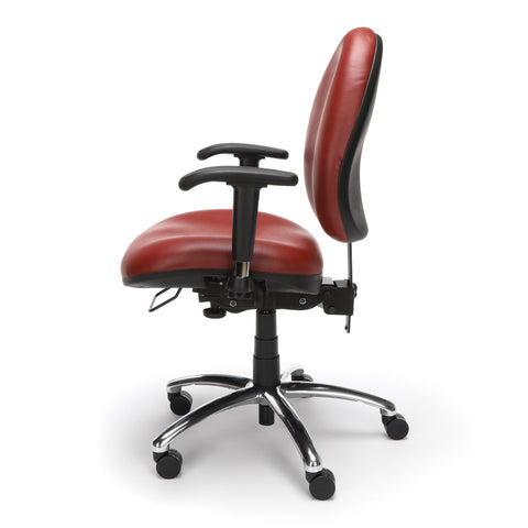 OFM Model 247-VAM 24 Hour Big and Tall Ergonomic Computer Swivel Task Chair with Arms, Anti-Microbial/Anti-Bacterial Vinyl, Wine ; UPC: 811588010295 ; Image 5