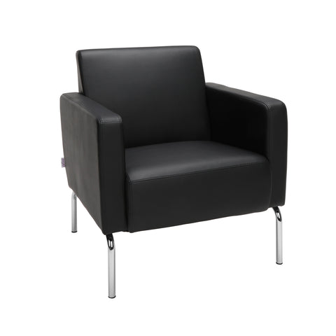 OFM Triumph Series Modular Lounge Chair with Arms, in Black (3002-PU606) ; UPC: 845123030004 ; Image 1