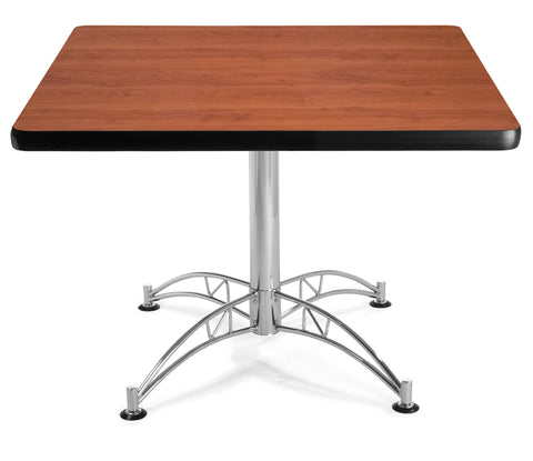 "OFM Model LT42SQ 42"" Multi-Purpose Square Table with Chrome-Plated Steel Base, Cherry ; UPC: 811588017652 ; Image 1"