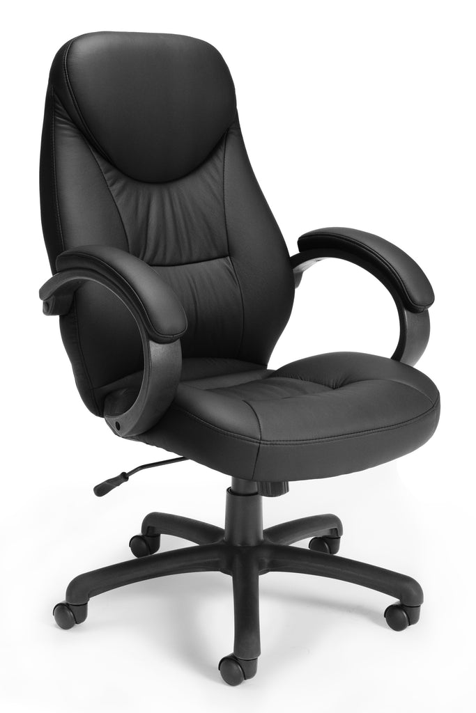 "OFM 522-LX-T Stimulus Series Leatherette Executive Chair, Leather Office Chair with Arms, 46.5"" Height, 28.25"" Wide, 31"" Length, Black ; UPC: 845123012291 ; Image 1"